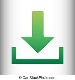 Download sign. Green gradient icon