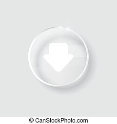 download sign icon glass surface transparent button