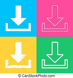 Download sign illustration. Four styles of icon on four color squares.