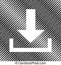 Download sign illustration. Vector. Icon. Hole in moire backgrou