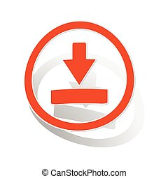 Download sign sticker, orange