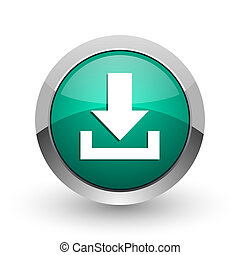 Download silver metallic chrome web design green round internet icon with shadow on white background.