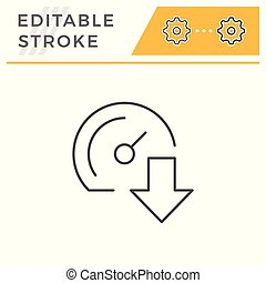 Download speed line icon isolated on white. Editable stroke....