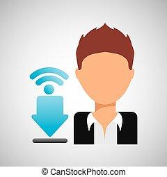 download, sujeito, wifi, caricatura