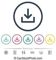Download symbol flat color icons in round outlines