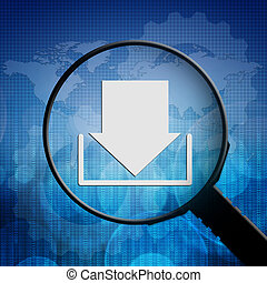 Download symbol in Magnifying glass