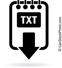 download, texto, arquivo, ícone