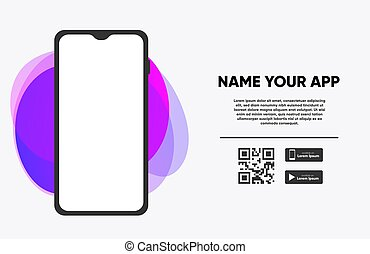 Download The App Banner with Phone and Screenshot Space. Vector illustrator