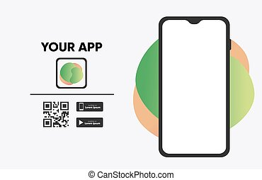 Download The App Sticker with Phone and Screenshot Space. Vector illustrator
