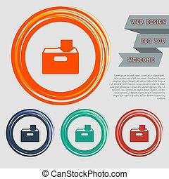 download to hdd icon on the red, blue, green, orange buttons for your website and design with space text. Vector