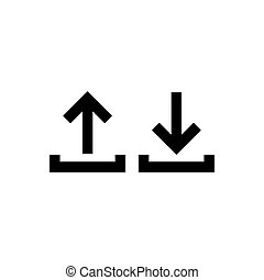 Download upload outline icon isolated. Symbol, logo illustration for mobile concept and web design.