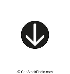 download vector icon, circle flat design internet button, web and mobile app illustration