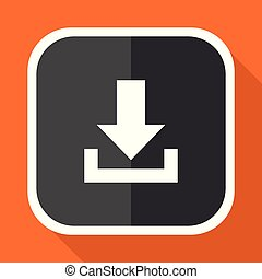Download vector icon. Flat design square internet gray button on orange background.