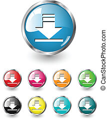 Download vector set - Download icon sign, multicolored...