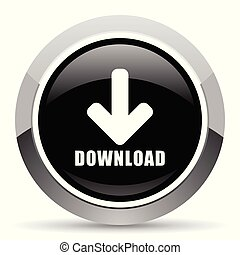 Download vector steel icon. Chrome border round web button. Silver metallic pushbutton.