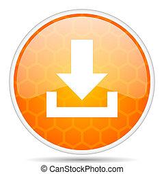 Download web icon. Round orange glossy internet button for webdesign.