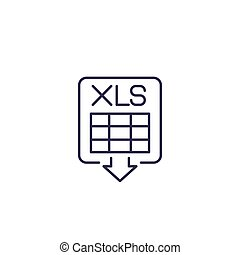 download xls document vector line icon, eps 10 file, easy to edit