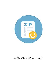 download zip file vector icon