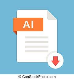 downloaden, ai, icon., bestand, met, ai, etiket, en, omlaag pijl, teken., downloaden, document, concept., plat, ontwerp, vector, pictogram
