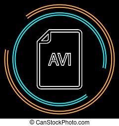downloaden, avi, document, pictogram, -, vector, bestand, formaat