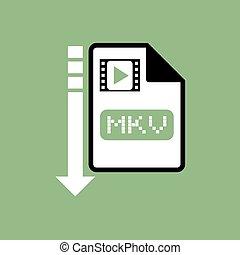downloaden, bestand, mkv, symbool