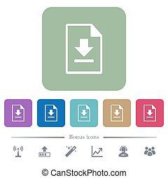 downloaden, bestand, plat, iconen, op, kleur, afgerond, plein, achtergronden