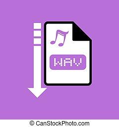 downloaden, bestand, wav, symbool