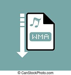 downloaden, bestand, wma, symbool