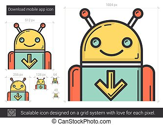 downloaden, beweeglijk,  App, lijn, pictogram