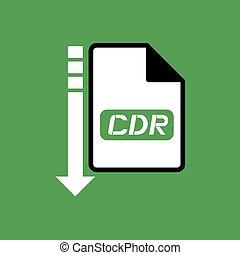 downloaden, cdr, bestand, symbool