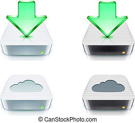 downloaden, concept, opslag, wolk