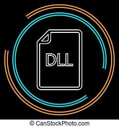 downloaden, dll, document, pictogram, -, vector, bestand, formaat