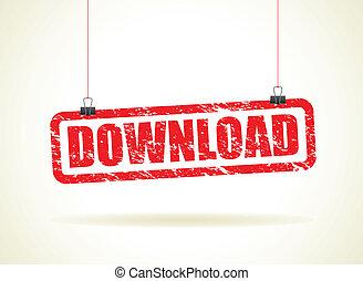 downloaden, hangend teken