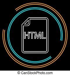 downloaden, html, document, pictogram, -, vector, bestand, formaat