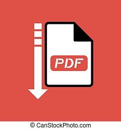 downloaden, pdf, bestand, symbool