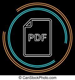 downloaden, pdf, document, pictogram, -, vector, bestand, formaat, symbool