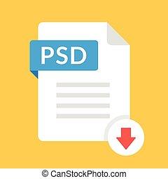 downloaden, psd, icon., bestand, met, psd, etiket, en,...