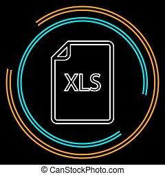 downloaden, xls, document, pictogram, -, vector, bestand, formaat