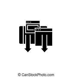7bea45fc5c3 Downloading black icon concept. Downloading flat vector symbol, sign,  illustration.