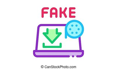 downloading fake video Icon Animation. color downloading fake video animated icon on white background