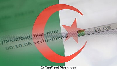 Downloading files on a computer, Algeria flag - Downloading...