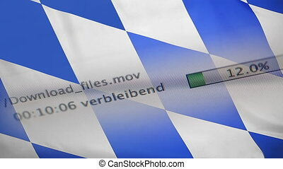 Downloading files on a computer, Bavaria flag - Downloading...