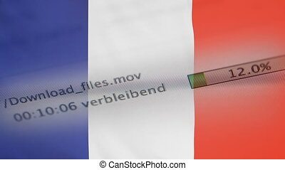 Downloading files on a computer, France flag - Downloading...
