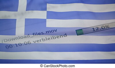 Downloading files on a computer, Greece flag - Downloading...