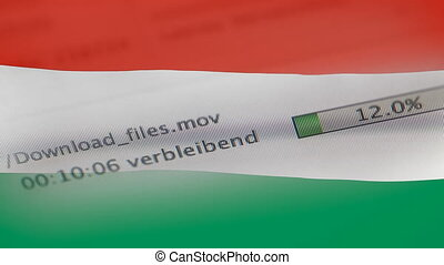 Downloading files on a computer, Hungary flag - Downloading...