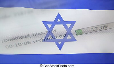 Downloading files on a computer, Israel flag - Downloading...
