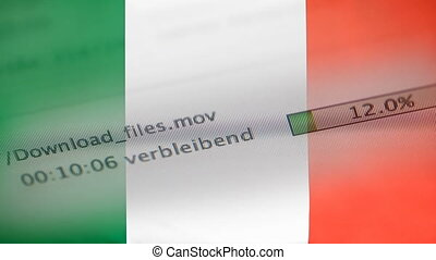 Downloading files on a computer, Italy flag - Downloading...