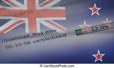 Downloading files on a computer, New Zealand flag -...