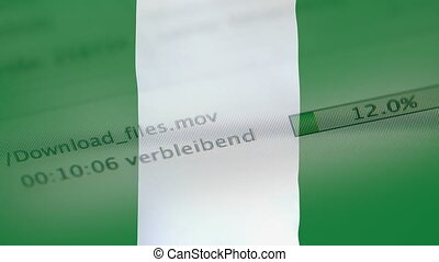 Downloading files on a computer, Nigeria flag - Downloading...