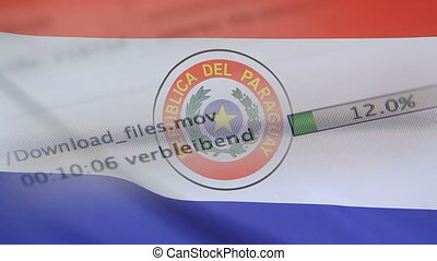 Downloading files on a computer, Paraguay flag - Downloading...